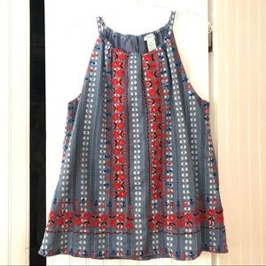 Sundance Floral Embroidered Tank Top - Size Large